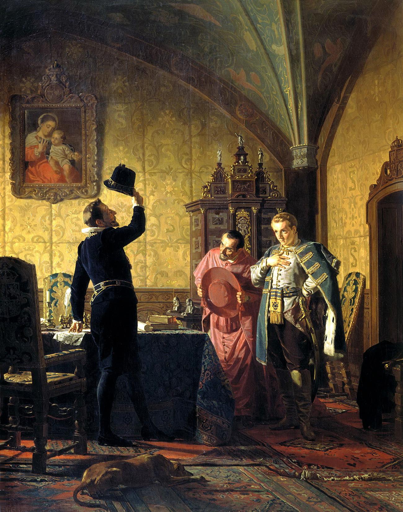 """Лажниот Дмитриј Први му ветува на Сигизмунд Трети дека ќе воведе католицизам во Русија. / Саратовски ликовен музеј """"А.Н. Радишчев."""