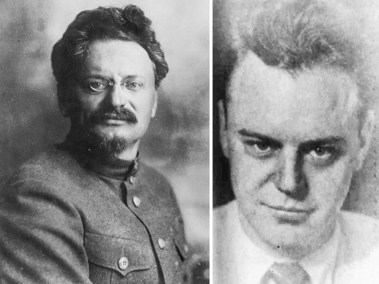 Leon Trotsky (L); Trotsky's son Lev Sedov