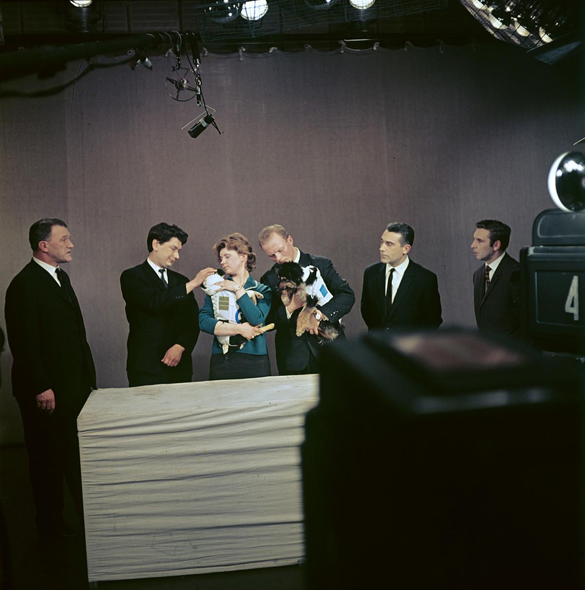 """""""Наступ"""" паса-космонаута у студију Централне телевизије по повратку из свемира."""