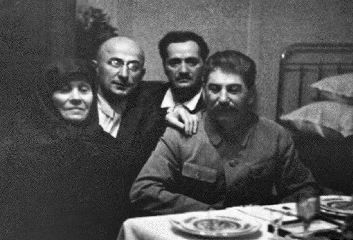 From left to right: Ekaterine Geladze, Lavrentiy Beria, Nestor Lakoba, Joseph Stalin.