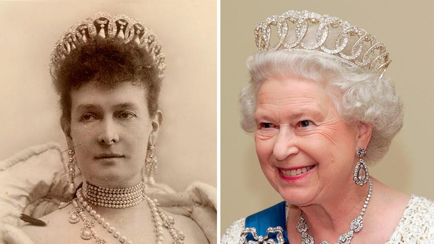 Maria Pavlovna e Elizabeth 2ª usando a tiara de Vladímir