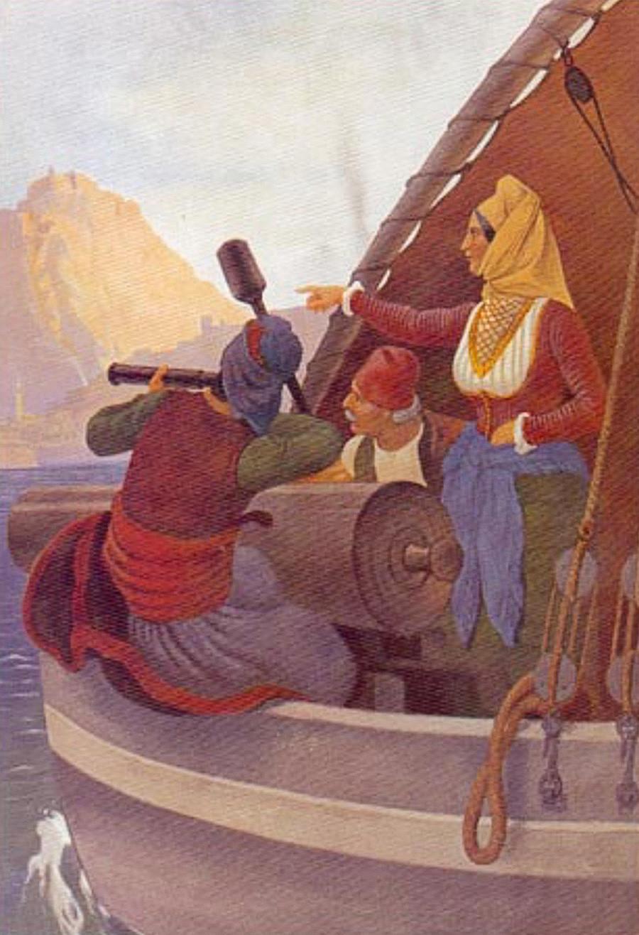 Lukisan Laskarina Bouboulina, Pahlawan Perang Kemerdekaan Yunani  karya Von Hes.