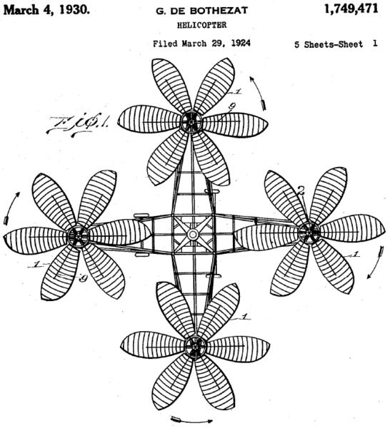 """Vista superior de la patente estadounidense del """"pulpo volador"""""""