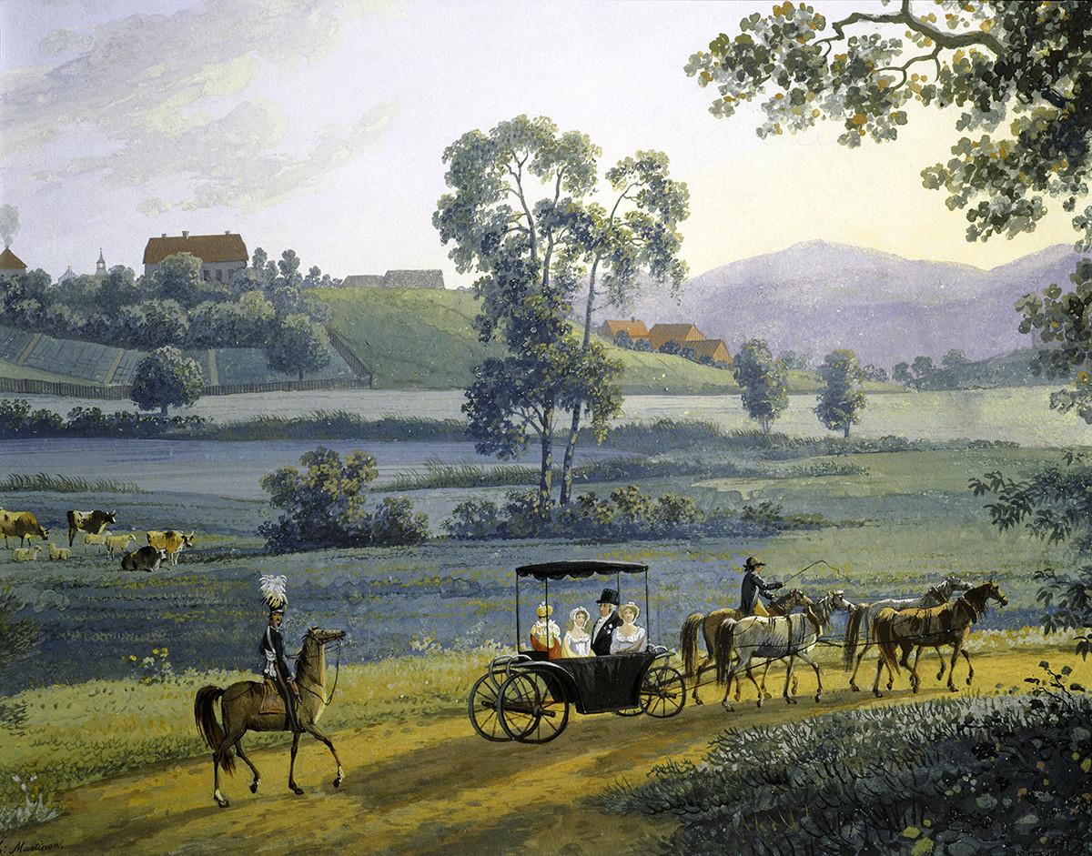 """""""Paisagem Rural Russa"""", 1811, guache, de Andrej Martynoff (1768-1826)."""