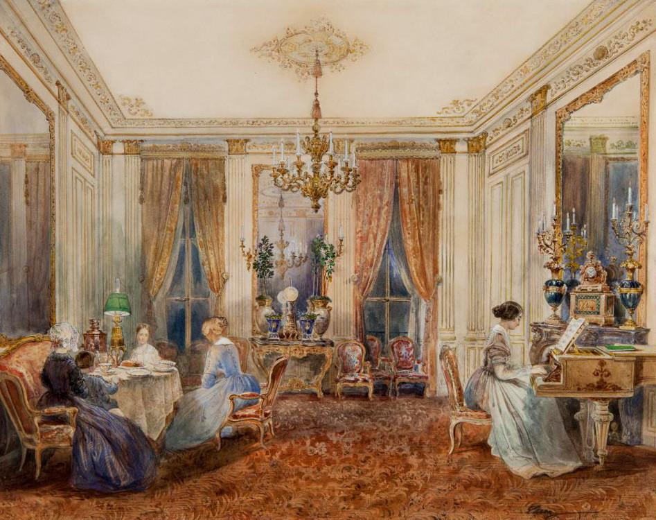 """""""Sala de estar nos apartamentos da Condessa Anna Chereméteva no Boulevard Poissonnière, em Paris"""