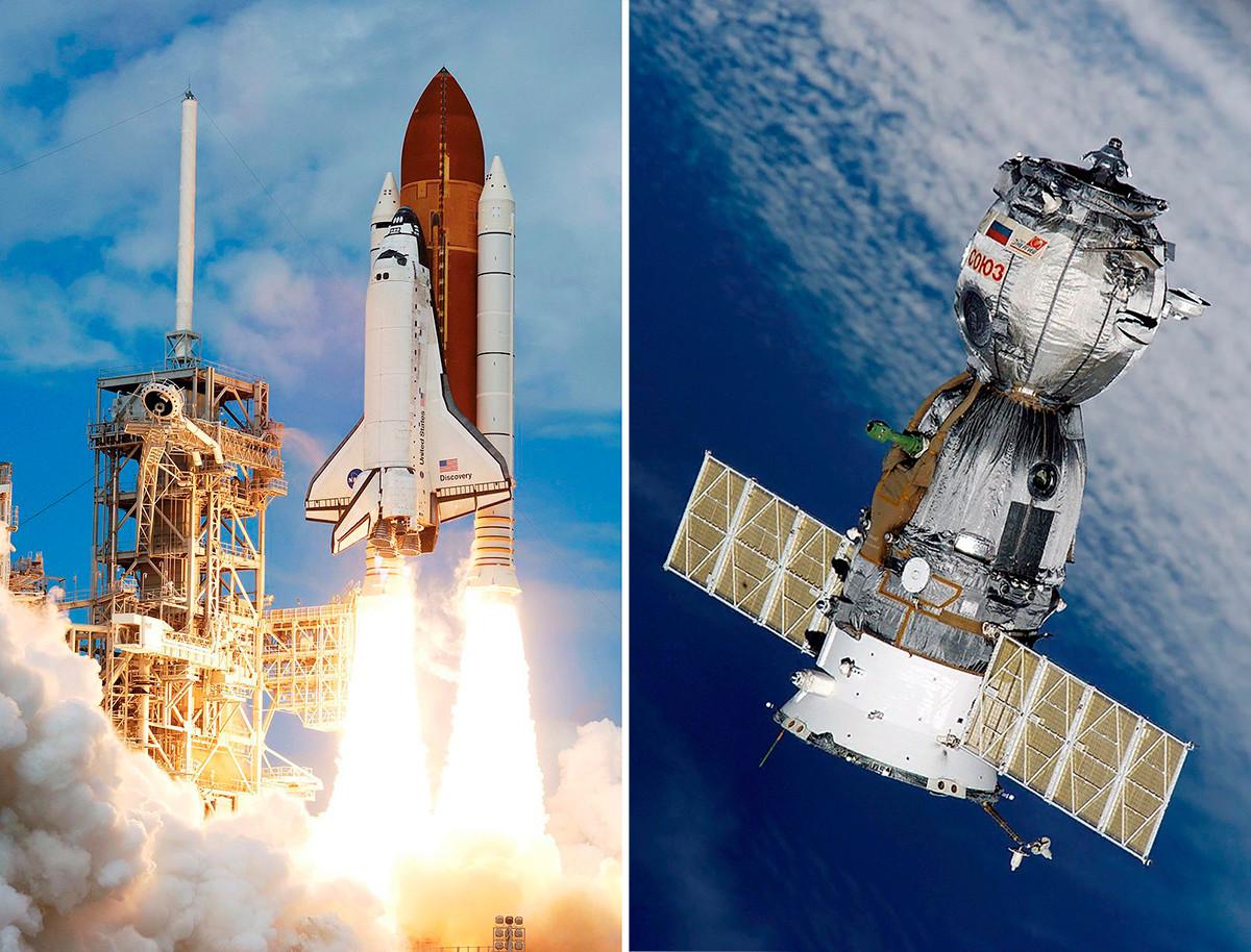 Pesawat ulang-alik Discovery (kiri) dan wahana antariksa Soyuz (kanan).