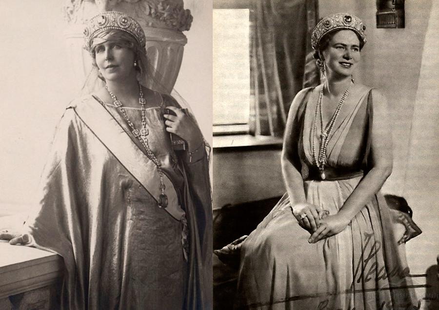 ルーマニアのマリア女王(左)とルーマニア王女イレアナ(右)