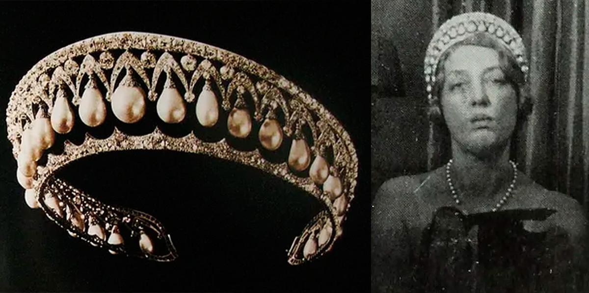 パールの冠(左)と冠をつけているマルボロ公爵夫人(右)