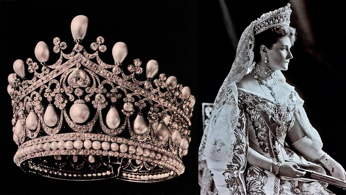 大きなダイアモンドの冠とアレクサンドラ・フョードロヴナ (ニコライ2世皇后)