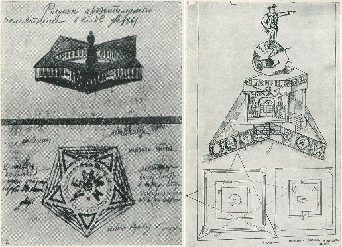 Rancangan mausoleum berbentuk bintang karya P.N.Baranov, S. Maklashov, dan P. Korolev.