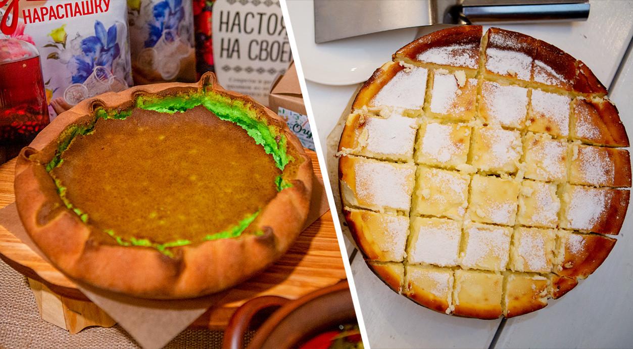 Left: Tobolka cake from the Ogurets restaurant; right: cake from the John Kopiski's farm.