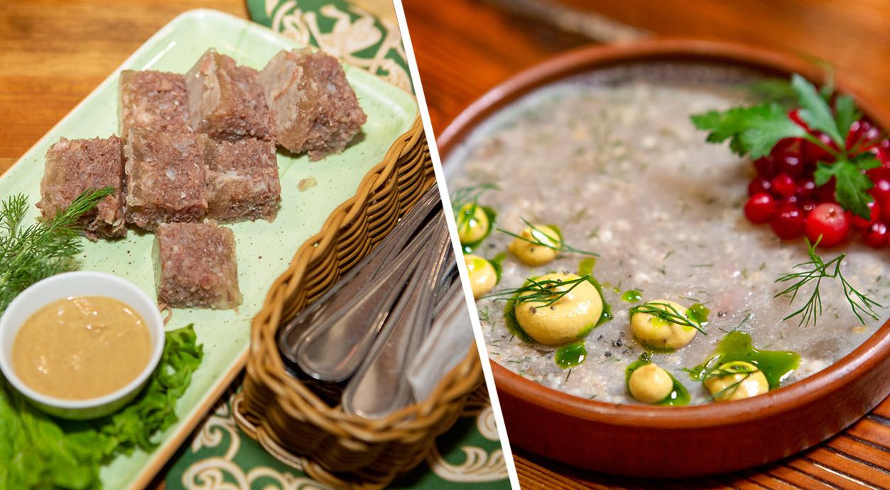 Left: Beef kholodets from Okolitsa. Right: