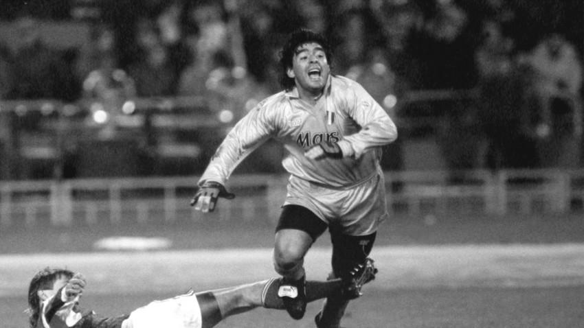 Borís Pozdniakov y Diego Maradona.