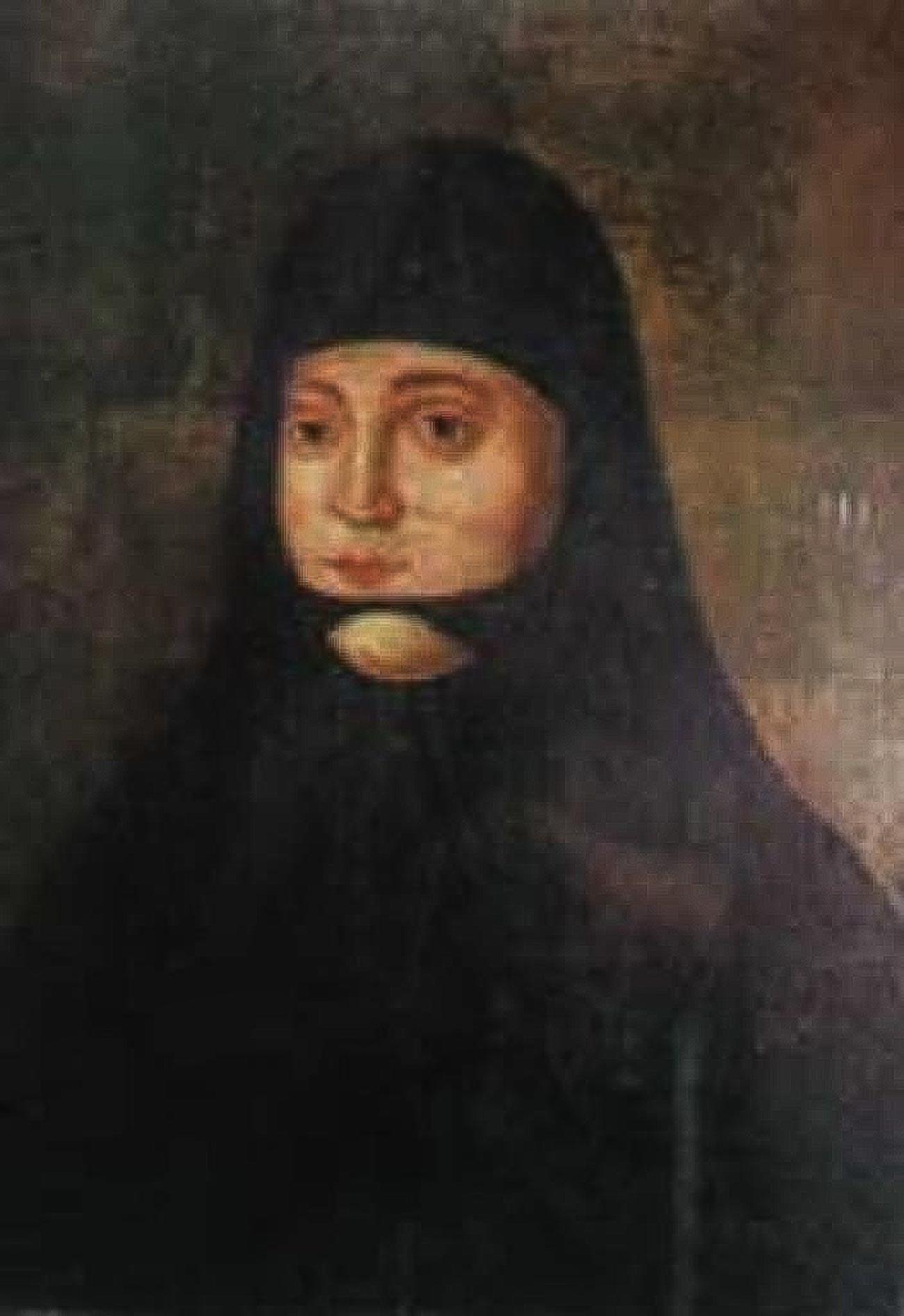 Solomonia Saburova, a primeira mulher do Grão Príncipe Vassíli 3°, depois de ser obrigada a virar freira no Mosteiro da Intercessão de Suzdal.