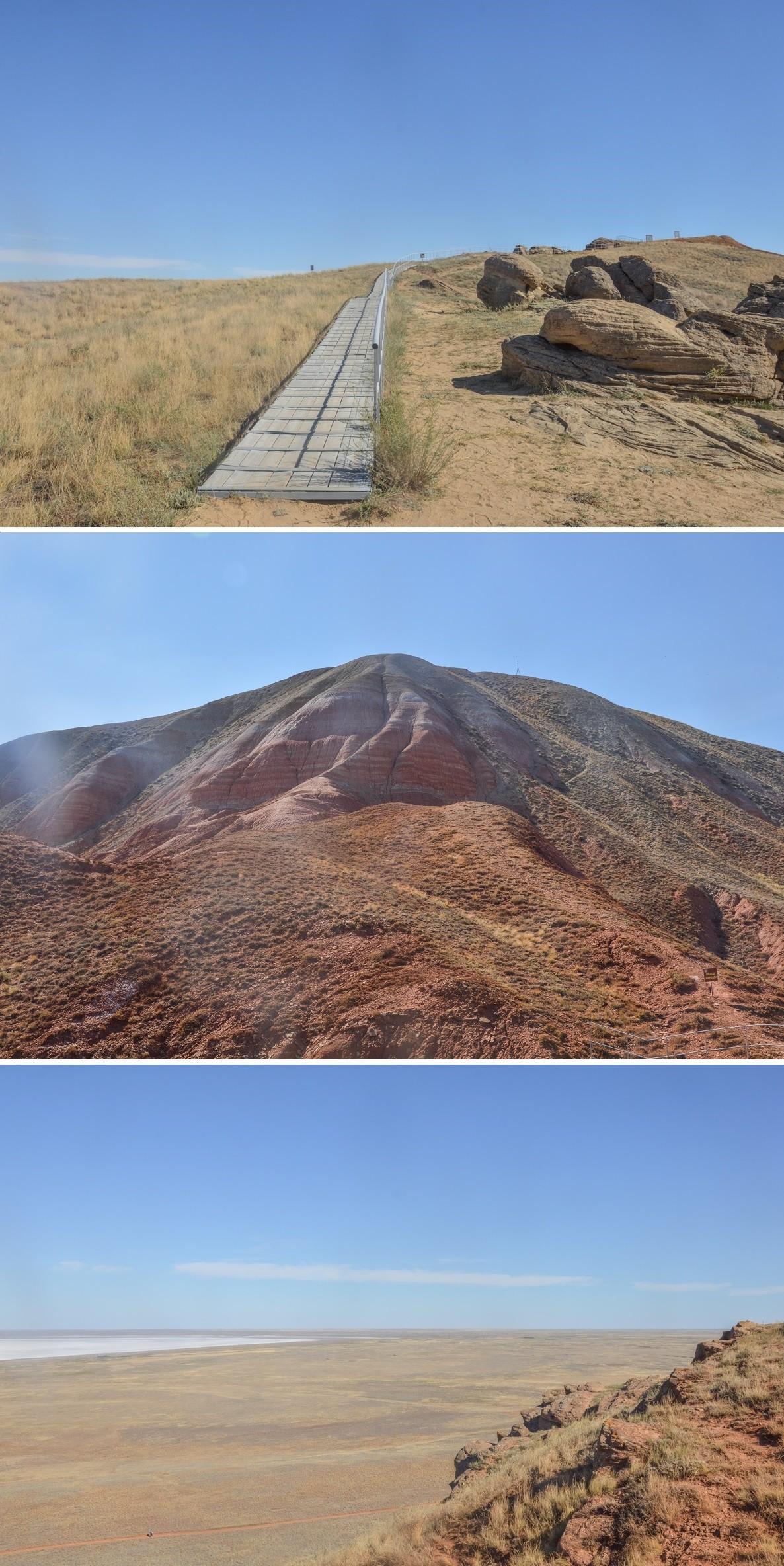 Surprenante de rouge, cette montagne aux cimes arrondies s'accorde à merveille avec le visage des visiteurs, étouffant par une chaleur de plus de 40° en cette fin de mois d'août.