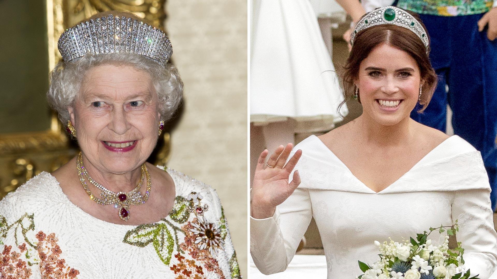 Королева Елизавета II во время визита в Турцию в 2008 и ее внучка принцесса Евгения на собственной свадьбе в 2018.
