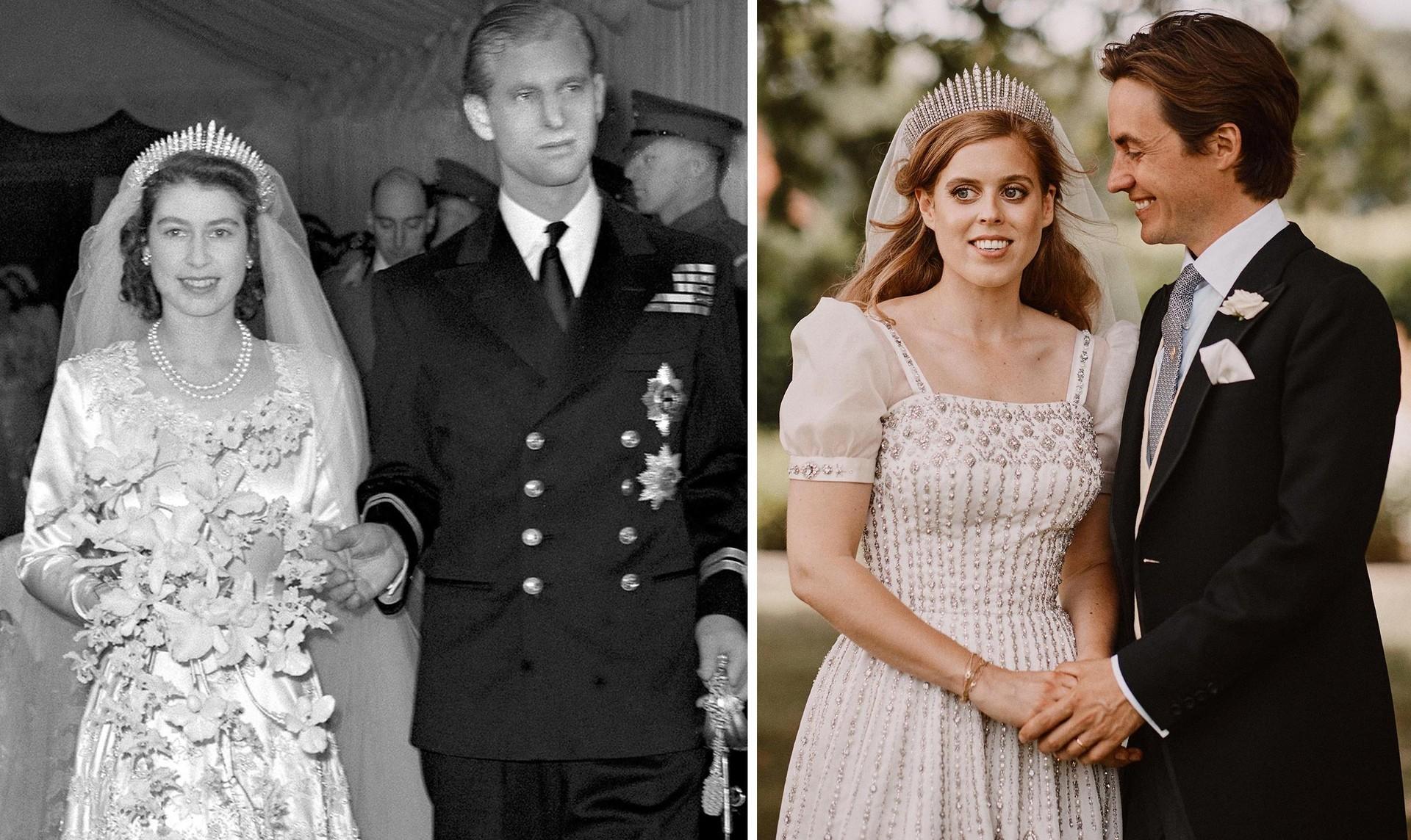 Елизавета II во франж-тиаре на собственной свадьбе в 1947 году и ее внучка принцесса Беатрис на своей свадьбе в июле 2020 в этой же тиаре.