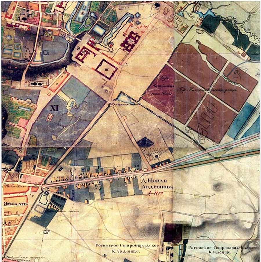 """Mappa topografica della zona, 1850. Il grande triangolo centrale avrebbe poi ospitato la fabbrica """"Serp i Molot"""""""