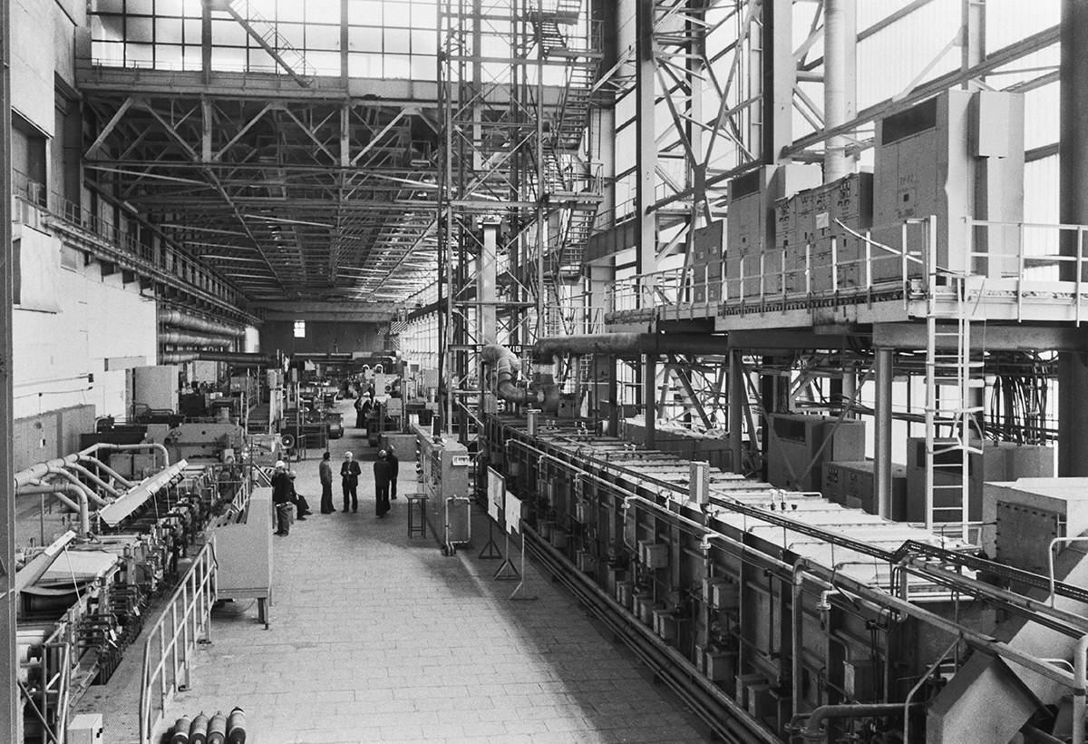 Lavori di costruzione di una nuova sezione negli anni '70
