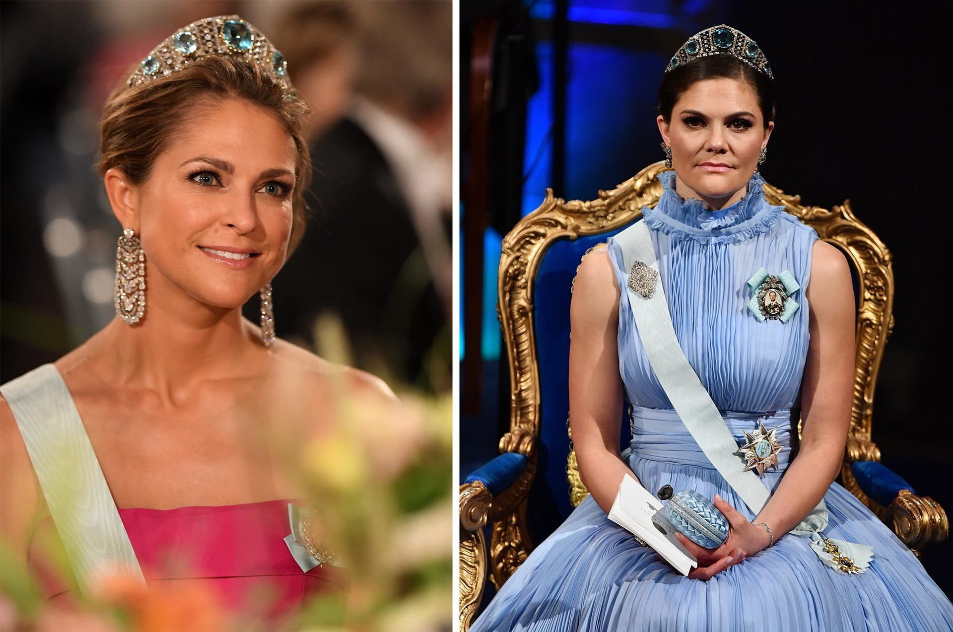 Princess Madeleine attends the Nobel Prize Banquet on December 10, 2019 in Stockholm; Princess Victoria attends the Nobel Prize Awards Ceremony on December 10, 2017 in Stockholm.