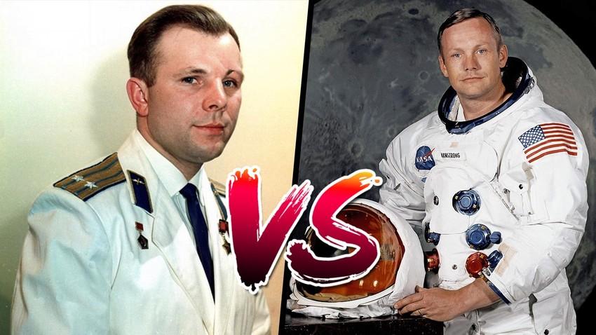 Yuri Gagarin, Russian cosmonaut, 1960s // Portrait of Astronaut Neil A. Armstrong