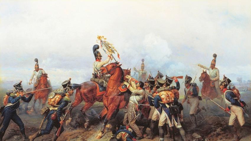 """""""Подвигът на кавалерийския полк в битката при Аустерлиц през 1805 г."""" (1884) от Богдан Вилевалд"""