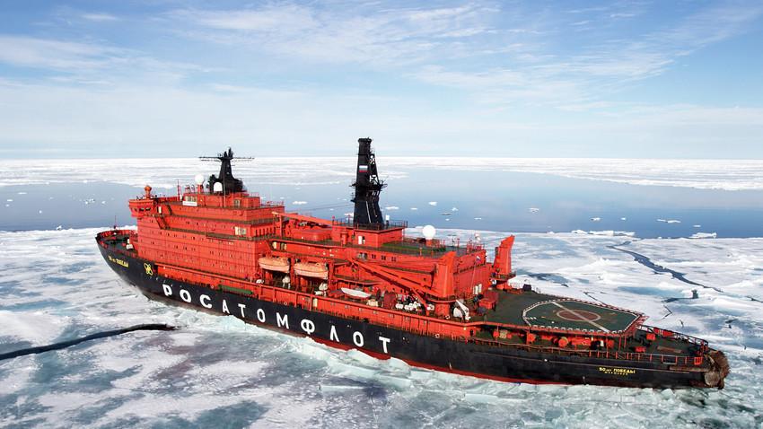 """Нуклеарниот мразокршач """"50 години Победа"""" во Северниот Леден океан"""