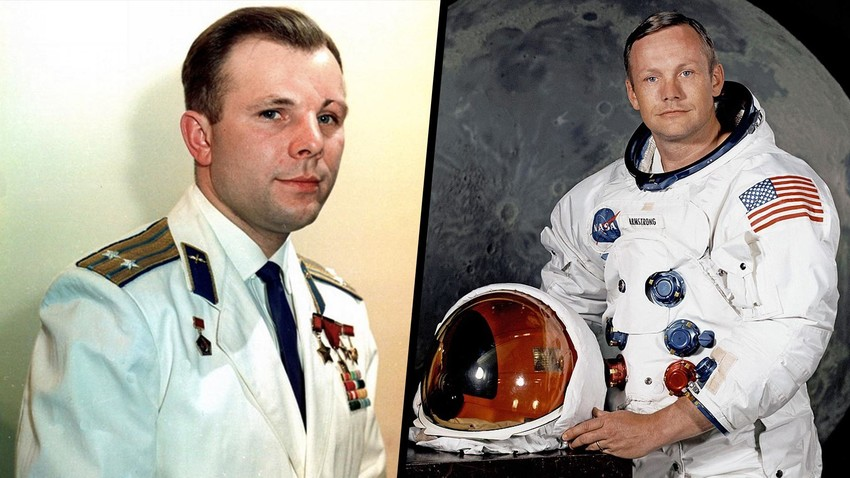 Kosmonaut Soviet Yuri Gagarin (kiri) dan Astronaut Neil A. Armstrong.
