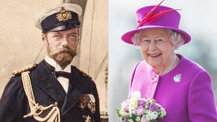 Lo Zar Nicola II a Björkö, Svezia, 1905 (a sinistra) / La Regina Elisabetta II visita la portaelicotteri HMS Ocean, 20 marzo 2015, Plymouth, Inghilterra (a destra)