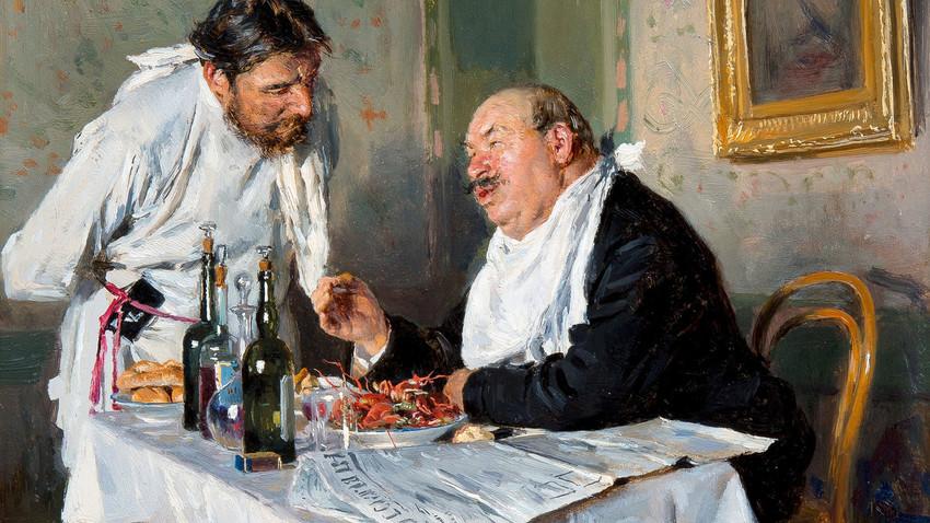"""""""In trattoria"""", Vladimir Makovskij, 1887"""