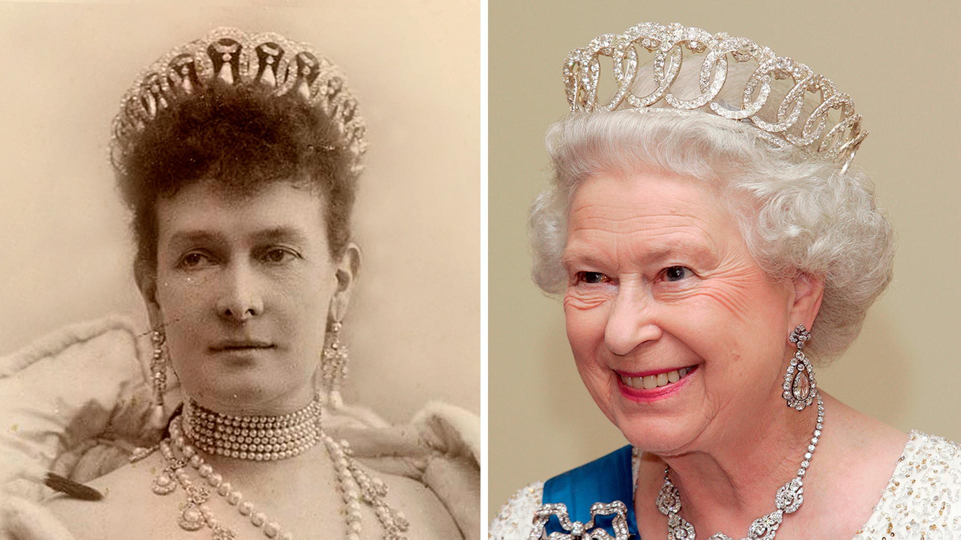 Maria Pavlovna dan Elizabeth II memakai Tiara Vladimir.