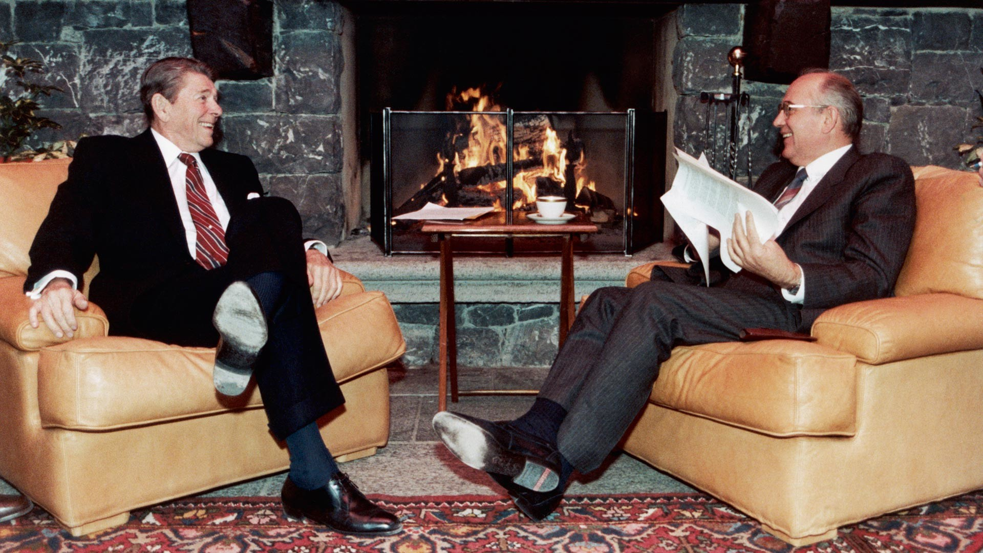 Ronald Reagan and Mikhail Gorbatchev share jokes on a break during the Geneva summit.