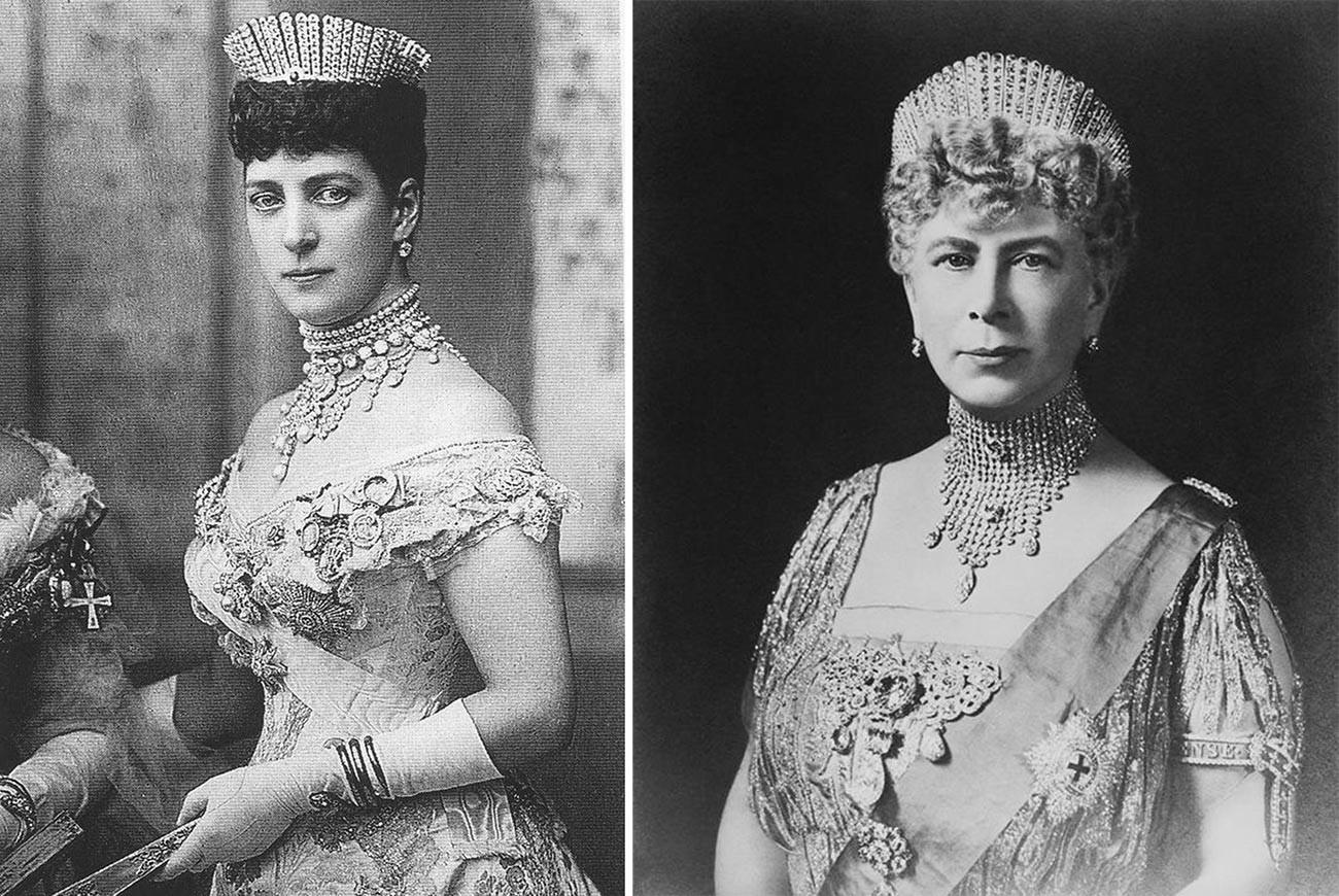 Rainha Alexandra e Maria de Teck usando kokochnik russo