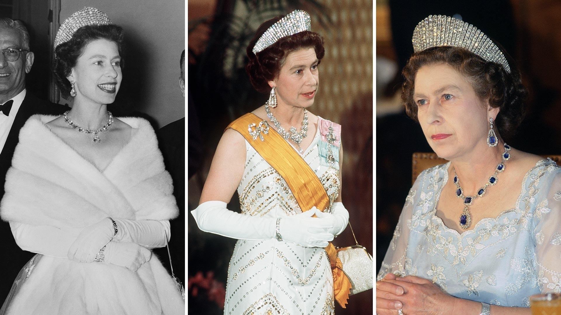 Rainha Elizabeth 2ª chega a almoço oferecido pelo governante de Pexauar durante uma visita da Comunidade das Nações ao Paquistão, em 4 de fevereiro de 1961; rainha Elizabeth 2ª vestida com trajes completos em 1975; e novamente rainha Elizabeth 2ª durante um banquete na Índia, em 1983