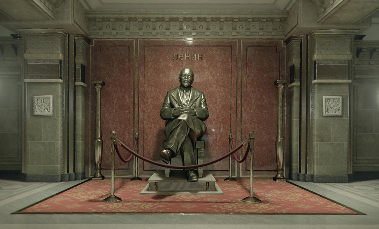 The Lenin monument inside the 'KGB headquarters' in Call of Duty: Black Ops Cold War (2020).