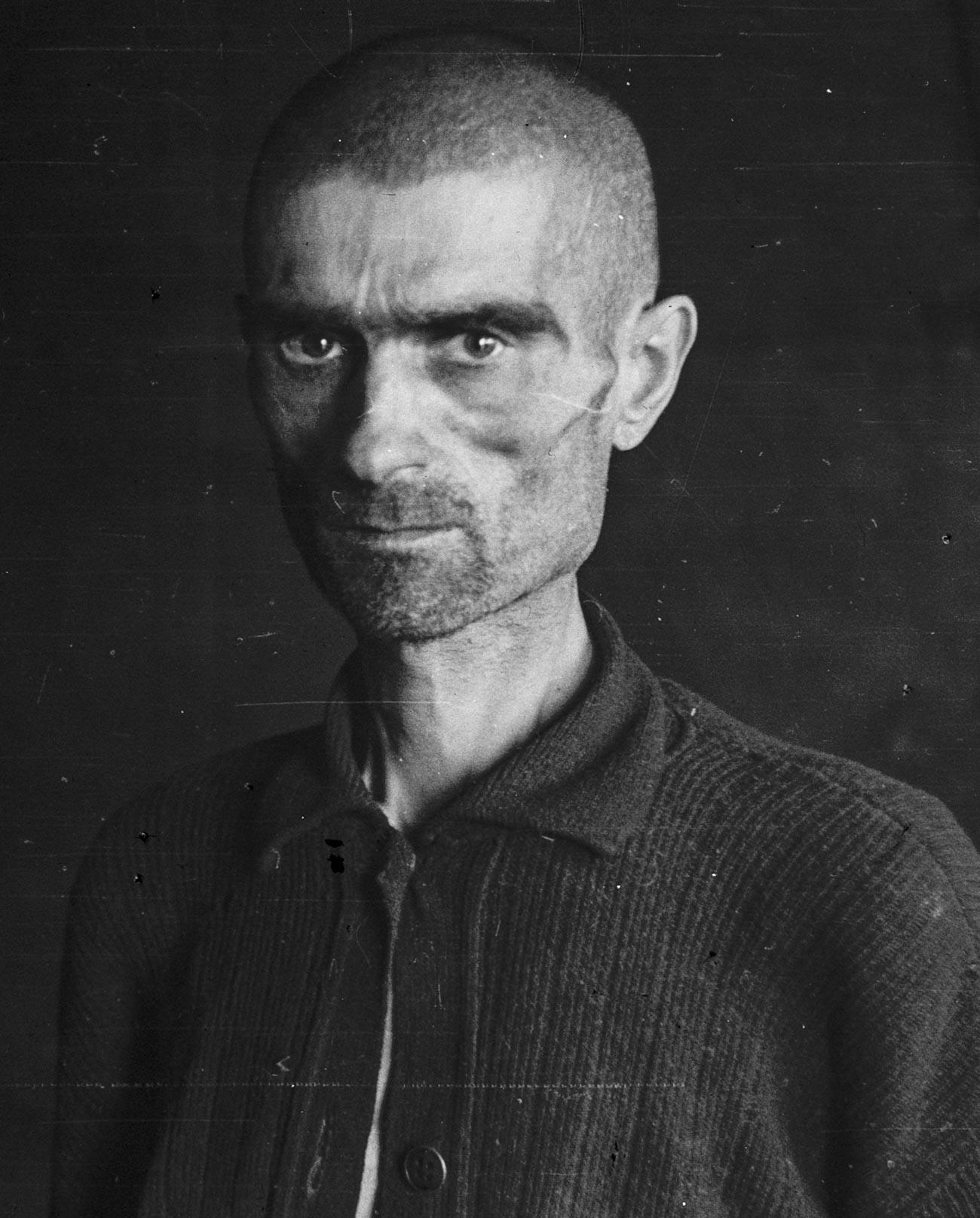 Ein sowjetischer Kriegsgefangener im Bjørnelva-Lager