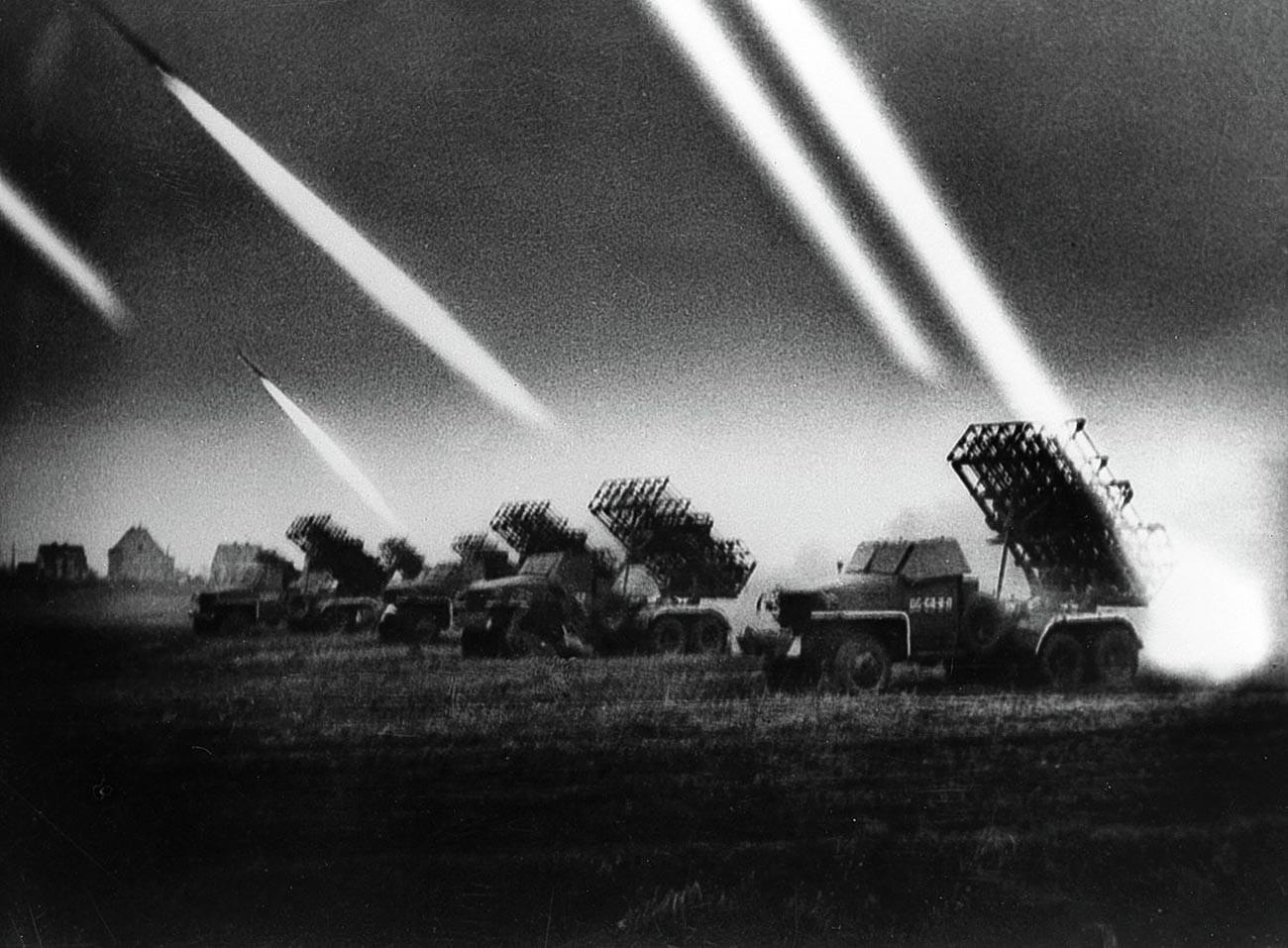 Katyusha rocket launchers in action.
