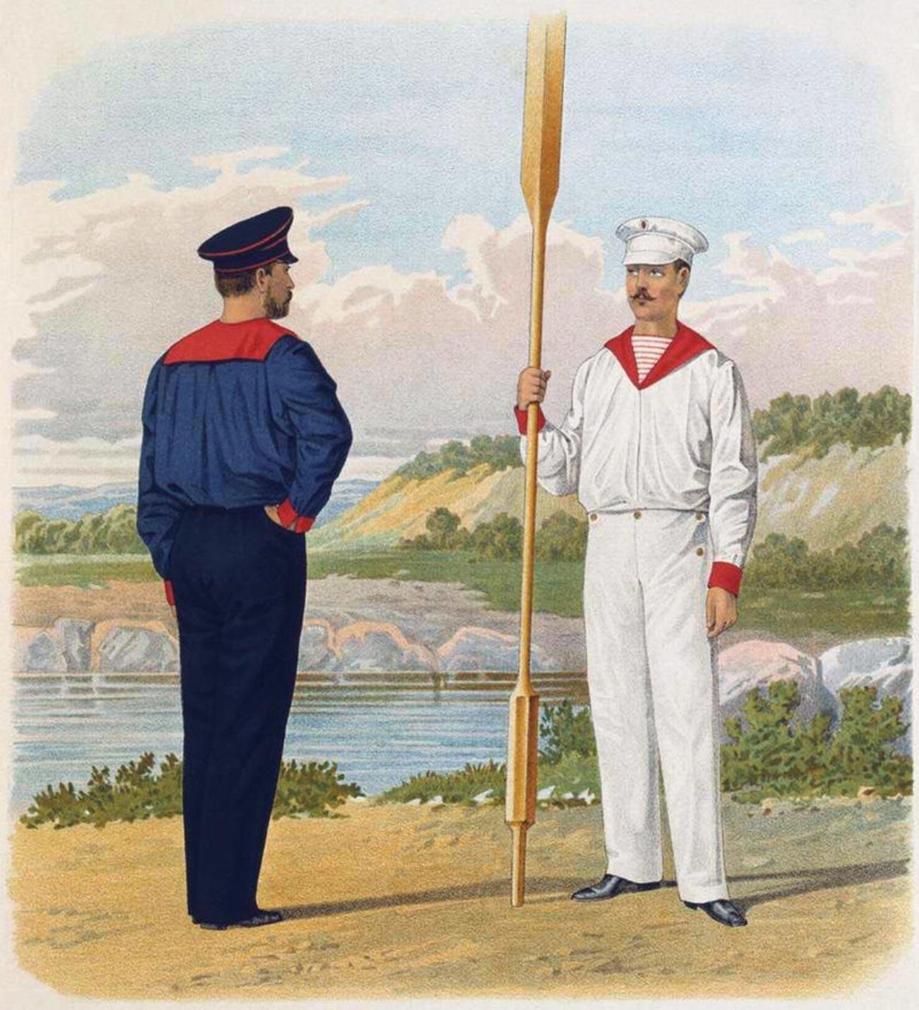 Marinheiro russo vestindo telniachka listrada de vermelho.