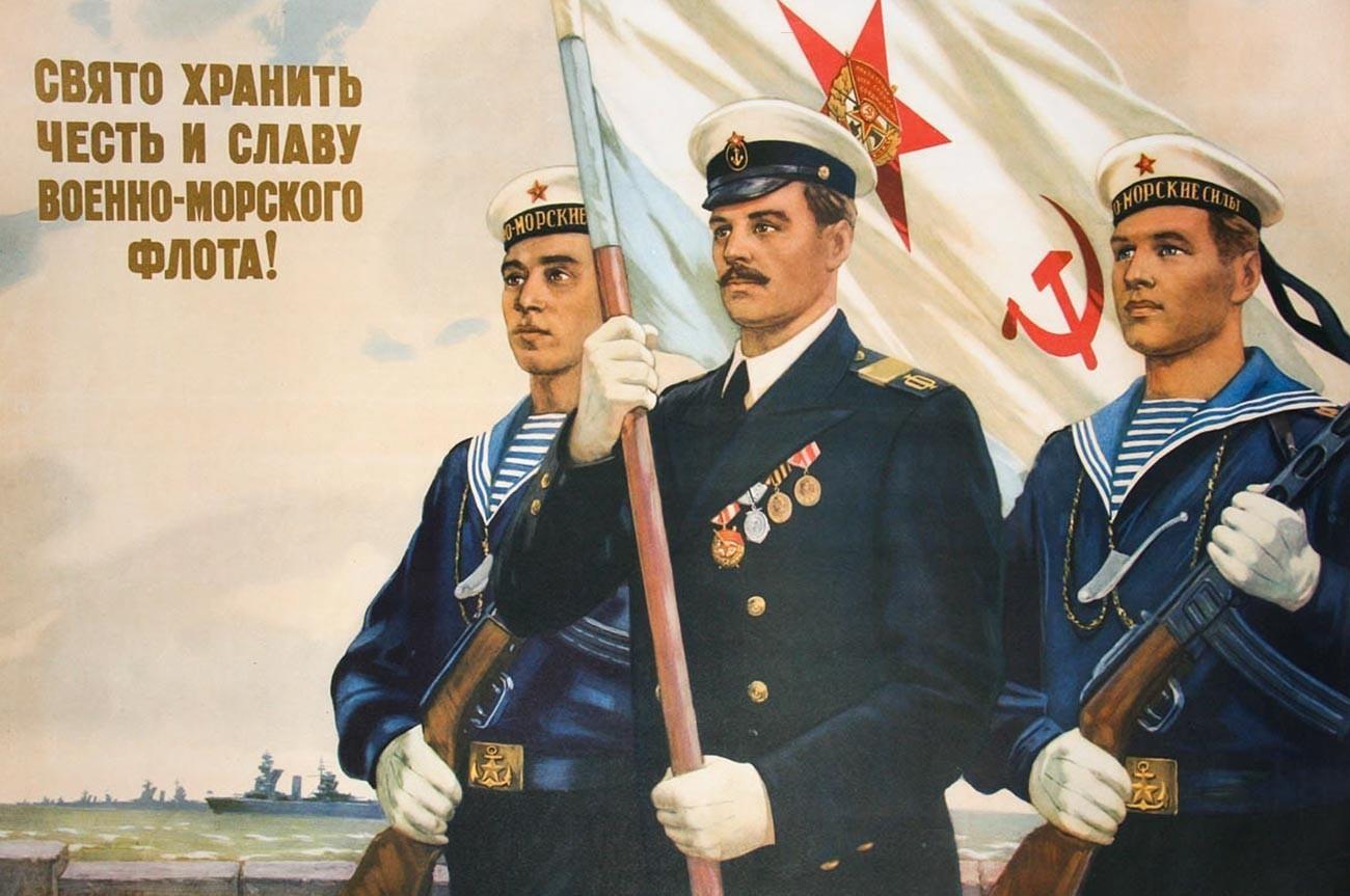 Pôster de agitação soviético mostrando marinheiros vestindo telniachkas.