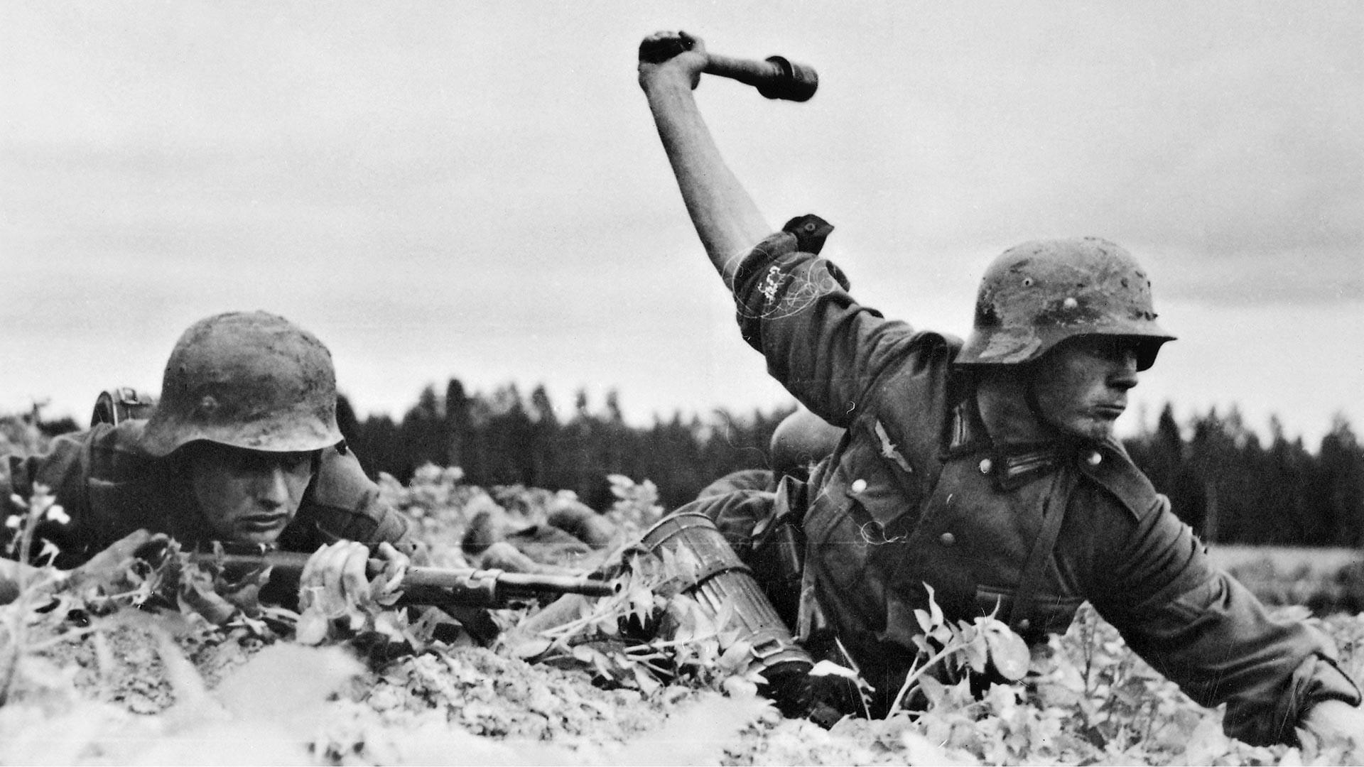 Las tropas alemanas en el frente oriental.