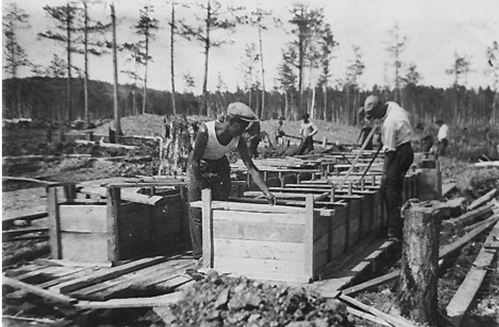 Izgradnja tvornice u amurskoj tajgi, 1930.
