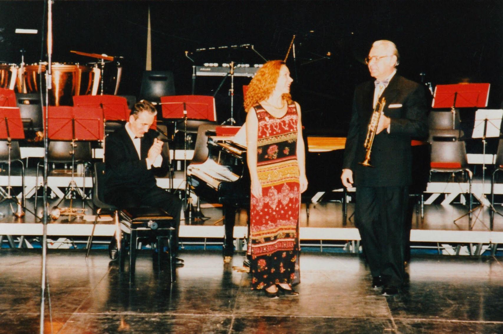 Martine avec Thimothée Dokshitser (trompettiste au Bolchoï) en  1995