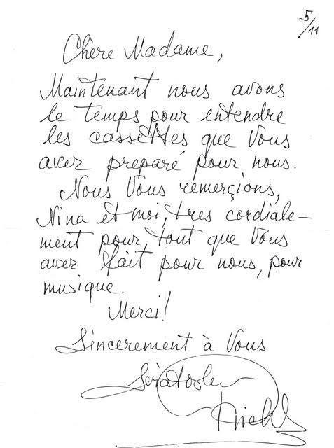 Une lettres de Sviatoslav Richter