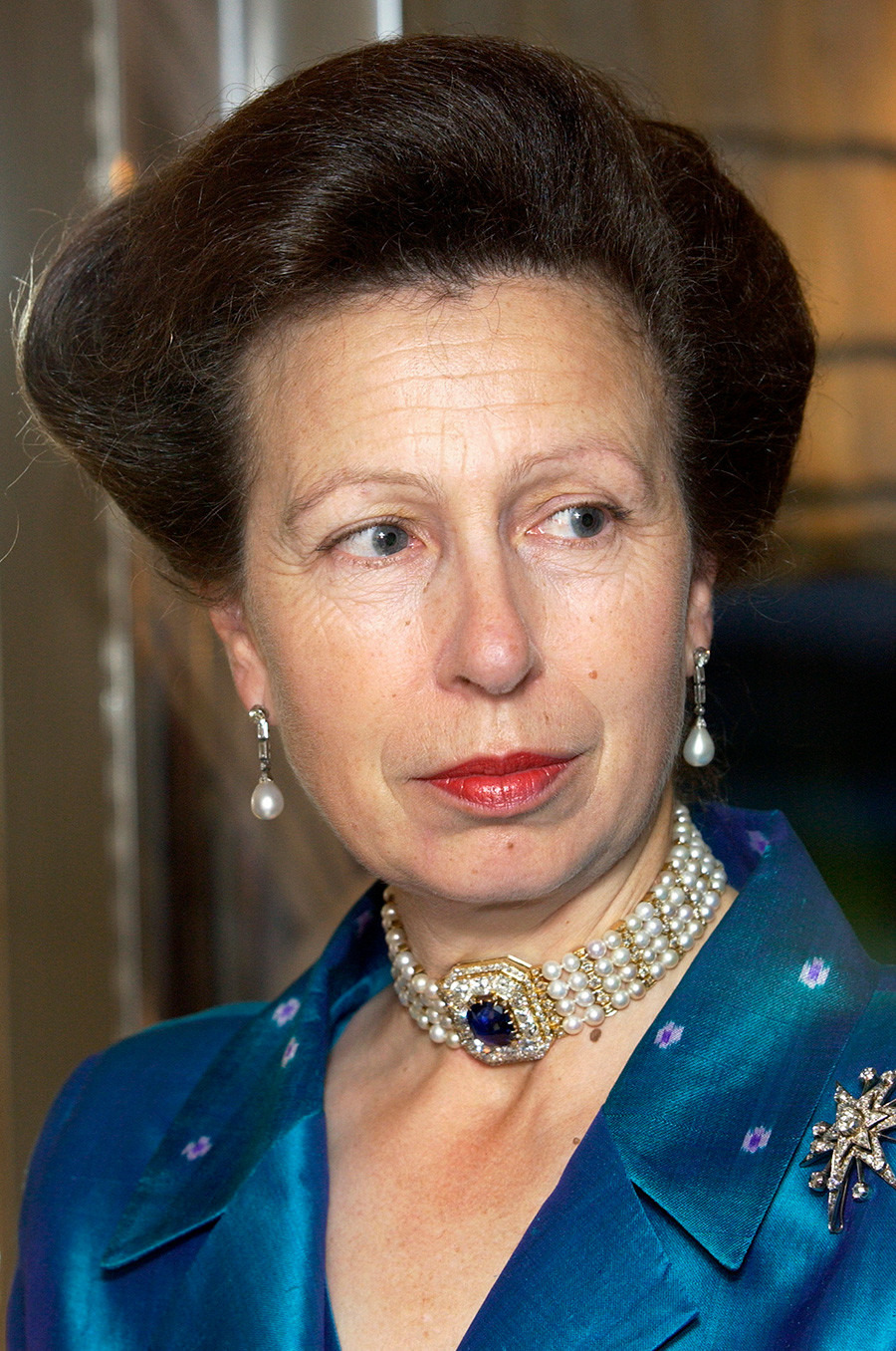 Princess Anne at the Royal Victoria Dock in East London, 2003.