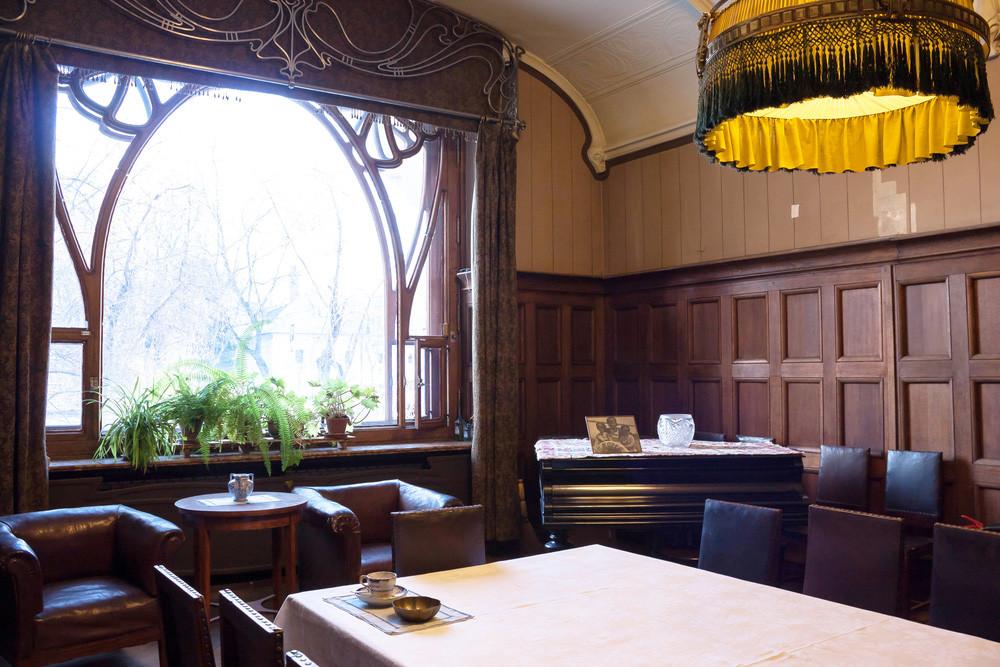 The dining room inside the Ryabushinski Mansion
