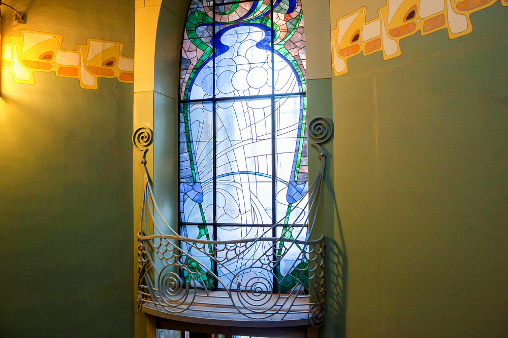 A stained glass window in the Ryabushinski Mansion