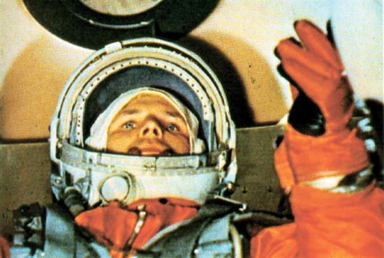Yuri Gagarin justo antes del despegue.