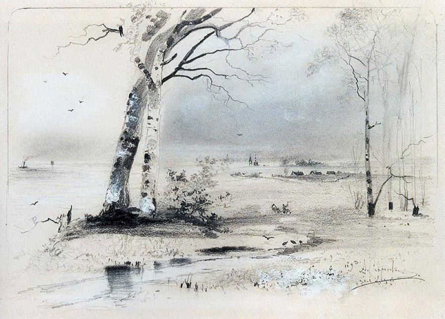 Lukisan karya Aleksei Savrasov berjudul 'Pohon Birch di Dekat Sungai, Awal Musim semi'.