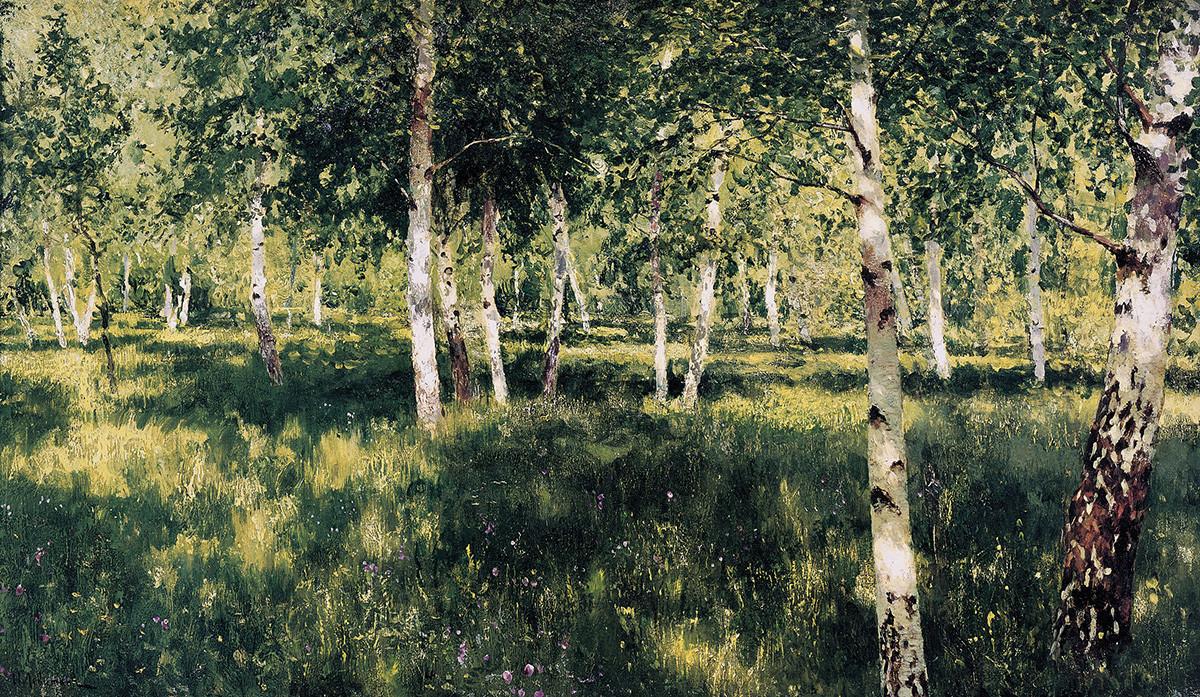 Lusikan karya Isaac Levitan berujudul 'Hutan Birch'.
