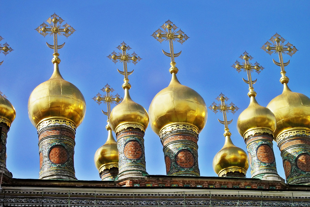 Domes of the Verkhospasskiy Cathedral in the Moscow Kremlin